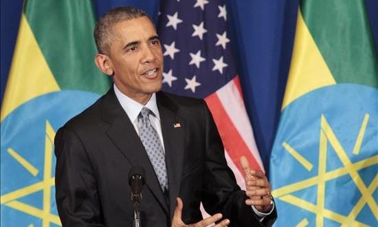 Obama descarta el envío de tropas a Somalia y confía en la capacidad de AMISOM El presidente de EEUU, Barack Obama, durante una rueda de prensa conjunta con el primer ministro etíope, Hailemariam Desalegn (no aparece), en el palacio Nacional de Adis Abeba, Etiopía, hoy, 27 de julio de 2015.
