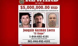 """Autoridades creen que El Chapo está en el sureste de México, según diario Imagen del cartel distribuido por la Agencia contra el Narcotráfico de Estados Unidos (DEA) que muestra al narcotraficante mexicano Joaquín """"El Chapo"""" Guzmán en el que se anuncia la recompensa de 5 millones de dólares que el Gobierno de Estados Unidos ofrece por información que conduzca a su captura"""