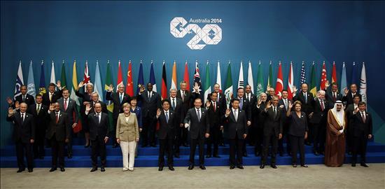 Argentina, Brasil y México: tres caras dispares de América Latina en el G20 Foto de familia de los asistentes a la cumbre del G20 realizada en el Centro de Convenciones de Brisbane, en la costa este de Autralia, en noviembre de 2014.