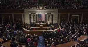 """Obama saca pecho por sus logros y denuncia la retórica """"del miedo"""" republicana El presidente de Estados Unidos, Barack Obama, durante su discurso del Estado de la Unión en el Capitolio en Washington (Estados Unidos)."""