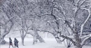 Washington y el este de país en alerta al aproximarse una tormenta de nieve Unas personas caminan bajo una intensa nevada en los alrededores del Capitolio en Washington DC, Estados Unidos.