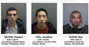 Los reclusos son Jonathan Tieu, de 20 años; Hossein Nayeri, de 37 años; y Bac Duong de 43 años.