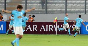 En la imagen, un registro de otra actuación de los jugadores de Sporting Cristal. EFE/Archivo