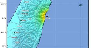 Mapa de la intensidad cedido por el Servicio Geológico de los Estados Unidos que muestra la ubicación de un terremoto de magnitud 6.1 que se produjo a la 1:01 pm hora local a una profundidad de 18 kilómetros, a unos 10 km al oeste de Hualien (Taiwán). EFE