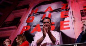 El candidato a la presidencia del Gobierno por el PSOE, Pedro Sánchez, durante su valoración de los resultados electorales en la sede socialista en la Calle Ferraz de Madrid. EFE