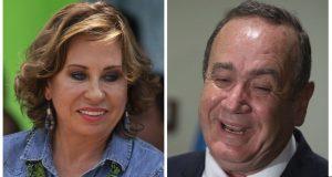 ARCHIVO - En esta combinación de imágenes de archivo aparecen los candidatos a la presidencia de Guatemala Sandra Torres, en Villanueva, Guatemala, el 14 de junio de 14, y su rival, Alejandro Giammattei, en la Ciudad de Guatemala, el 13 de junio de 2019. (AP Foto/Moises Castillo)
