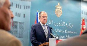 El ministro ruso de Asuntos Exteriores, Sergei Lavrov, en una rueda de prensa en Tunez, el pasado sabado. EFE