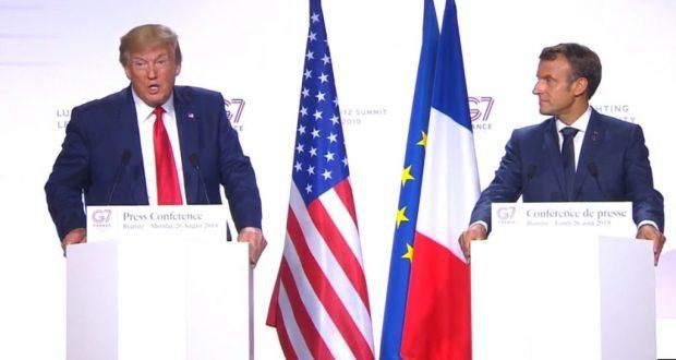 El presidente de EE.UU. Donald Trump (izquierda) y el presidente de Francia, Emanuel Macron, ofrecen conferencia de prensa conjunta al final de la cumbre del G-7 en Francia el lunes, 26 de agosto, de 2019.